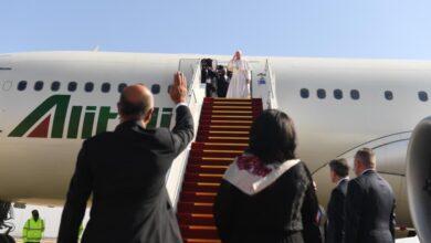 Photo of البابا فرنسيس يغادر بغداد بعد زيارة تاريخية للعراق